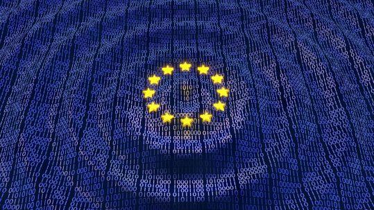 EU flag with binary code